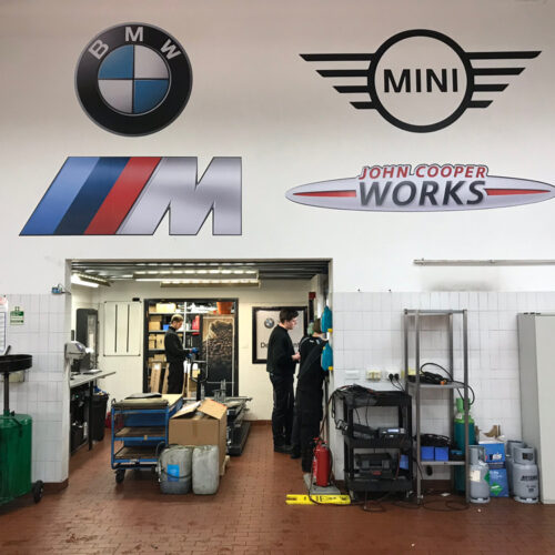 Car repair workshop branding