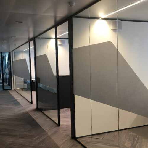 Squid partial glass manifestation for row of offices
