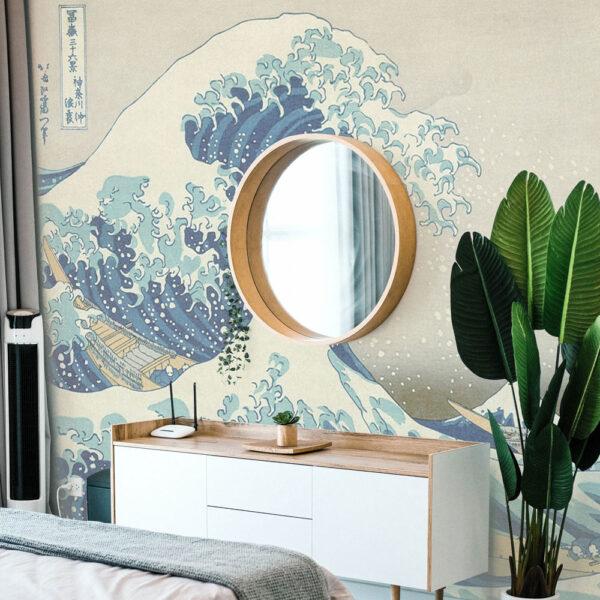 Bedroom-wallpaper-wave-graphic