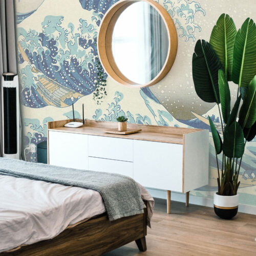 Nature themed wall wrap of a bedroom wall