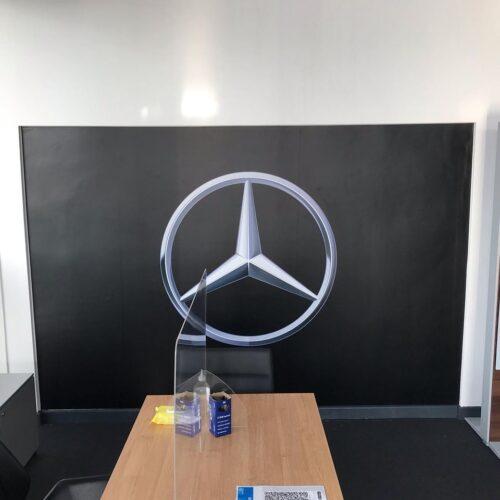 Branding the Mercedes Benz Logo on a wall